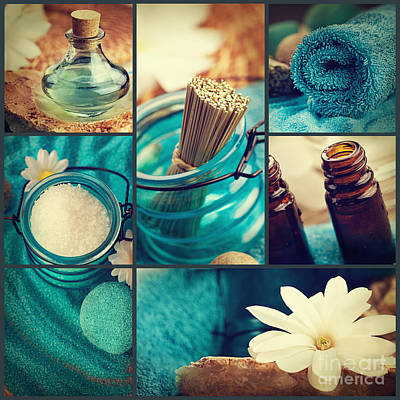Spa Collage Art Print by Mythja  Photography
