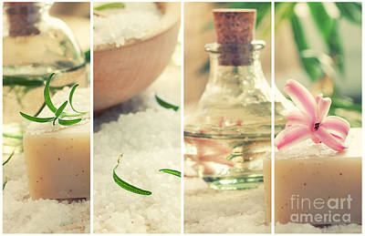 Spa Collage With Bath Salt And Flower Print by Mythja  Photography