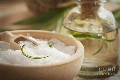 Photograph - Spa Setting With Bath Salt And Soap by Mythja  Photography