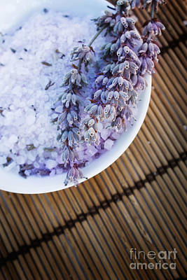 Photograph - Spa Setting With Lavender Bath Salt by Mythja  Photography