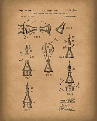 Space Capsule 1961 Mercury Patent Art  Brown Art Print by Prior Art Design