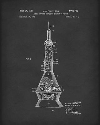 Drawing - Space Capsule 1961 Patent Art Mercury  Black by Prior Art Design