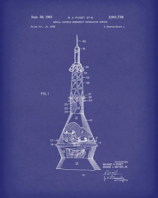 Drawing - Space Capsule 1961 Patent Art Mercury Blue by Prior Art Design