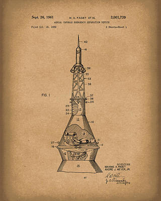 Drawing - Space Capsule 1961 Patent Art Mercury Brown by Prior Art Design