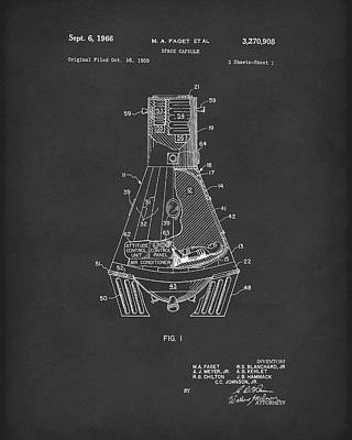 Drawing - Space Capsule 1966 Mercury Patent Art Black by Prior Art Design