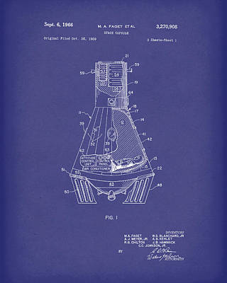 Drawing - Space Capsule 1966 Mercury Patent Art  Blue by Prior Art Design