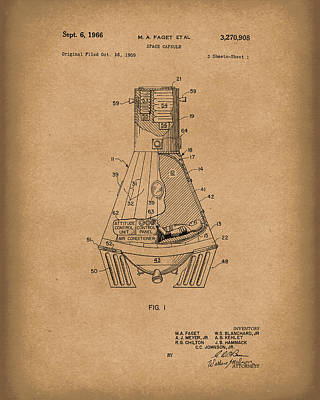 Drawing - Space Capsule 1966 Mercury Patent Art  Brown by Prior Art Design
