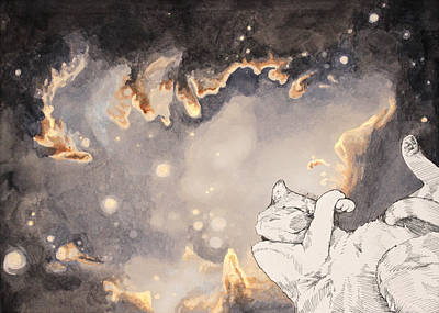 Outer Space Painting - Space Cat - Magellanic Cloud by Theresa Hentz