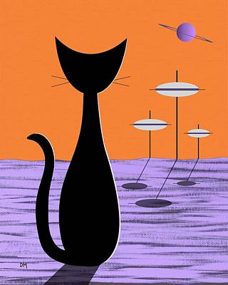 Eames Digital Art - Space Cat Orange Sky by Donna Mibus