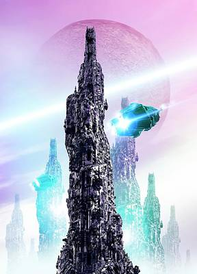 Future Photograph - Space Craft And Cityscape by Victor Habbick Visions