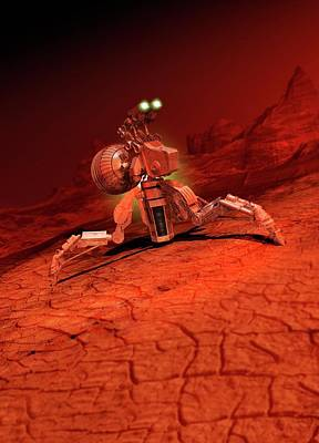 Space Craft Landing On A Red Planet Art Print
