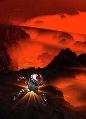 Outer Space Photograph - Space Craft Landing On Planet by Victor Habbick Visions