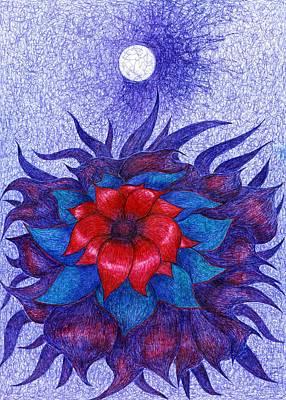 Primitive Drawing - Space Flower by Wojtek Kowalski
