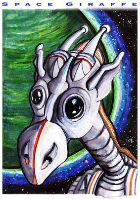 Science Fiction Drawings - Space Giraffe by Del Gaizo