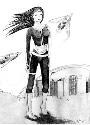 Science Fiction Drawings - Space Girl 5000 by Angela Bingham