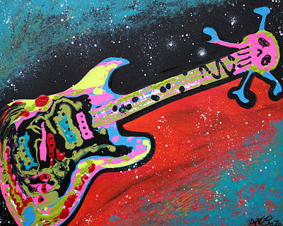 Modern Painting - Space Guitar by Laura Barbosa