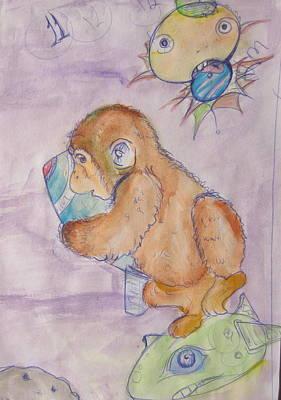 Space Monkey Art Print by Erik Franco