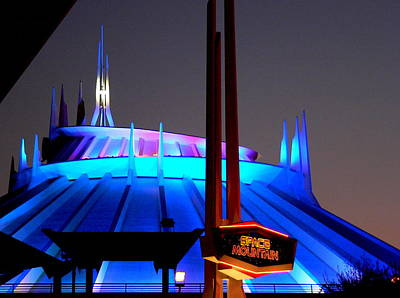 Photograph - Space Mountain Building At Night by Jeff Lowe
