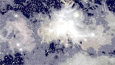 Drawing - Space Nebula - Cross Hatching by Samuel Majcen