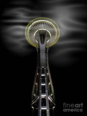 Mixed Media - Space Needle And Clouds by Chalet Roome-Rigdon