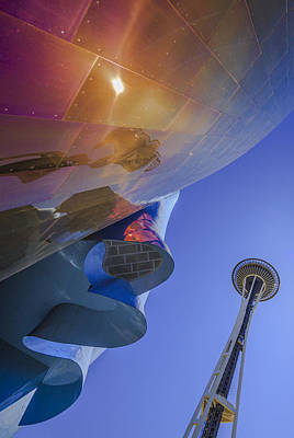 Space Needle And Emp In Perspective Non Hdr Art Print by Scott Campbell