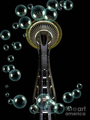Mixed Media - Space Needle Aqua Bubbles by Chalet Roome-Rigdon