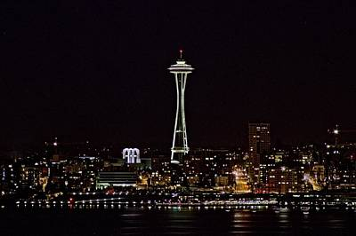 Space Needle At Night Art Print by Marv Russell