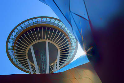 Space Needle From Emp Museum Art Print by Nikolyn McDonald