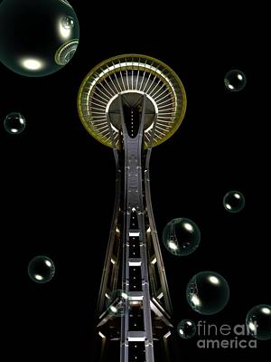 Mixed Media - Space Needle With Bubbles 1 by Chalet Roome-Rigdon
