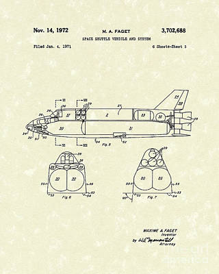 Space Ships Drawing - Space Shuttle 1972 Patent Art by Prior Art Design
