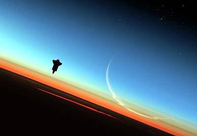 Space Shuttle Above Earth's Atmosphere Art Print