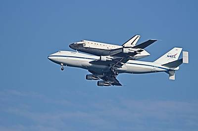 Photograph - Space Shuttle Atlantis Piggybacked On 747 by Bradford Martin