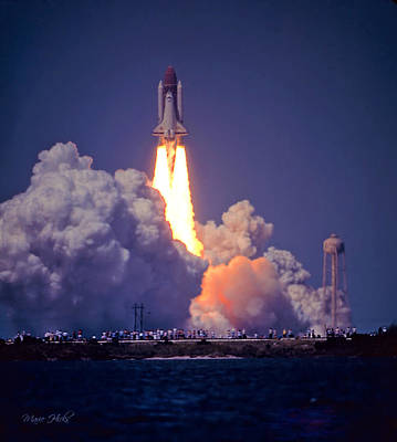 Photograph - Space Shuttle Challenger Sts-6 First Flight 1983 Photo 1  by Marie Hicks