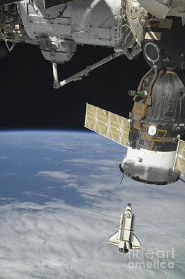 Space Shuttle Endeavour, A Soyuz Print by Stocktrek Images