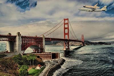 Space Shuttle Endeavour Over Golden Gate Bridge Art Print by Movie Poster Prints