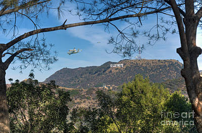 Photograph - Space Shuttle Endeavour Over Hollywood Sign  by David Zanzinger