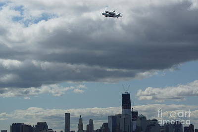 Print featuring the digital art Space Shuttle Enterprise Flys Over Nyc by Steven Spak