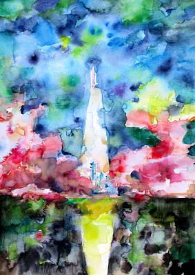 Atlantis Painting - Space Shuttle Launch by Fabrizio Cassetta