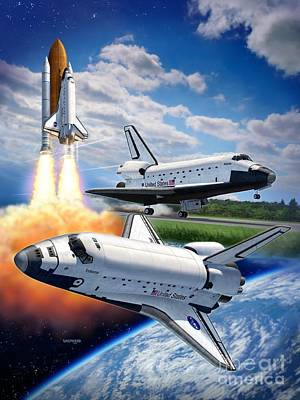 Space Ships Digital Art - Space Shuttle Montage by Stu Shepherd