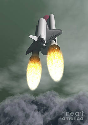 Space Shuttle Taking Off Amongst Grey Art Print by Elena Duvernay