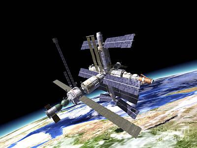 Component Digital Art - Space Station In Orbit Around Earth by Leonello Calvetti