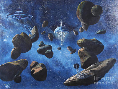 Outer Space Painting - Space Station Outpost Twelve by Murphy Elliott