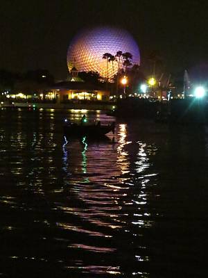 Disney Photograph - Spaceship Earth And Boat by Zina Stromberg