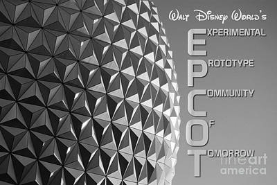 Photograph - Spaceship Earth Sunset Profile Epcot Walt Disney World Poster Black And White by Shawn O'Brien