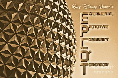 Digital Art - Spaceship Earth Sunset Profile Epcot Walt Disney World Poster Rustic Diffuse Glow by Shawn O'Brien