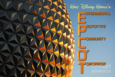 Photograph - Spaceship Earth Sunset Profile Epcot Walt Disney World Poster by Shawn O'Brien
