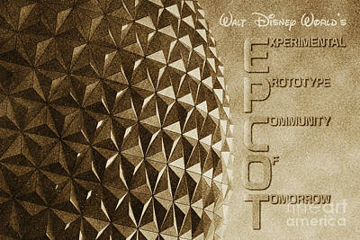 Digital Art - Spaceship Earth Sunset Profile Epcot Walt Disney World Poster Vintage by Shawn O'Brien