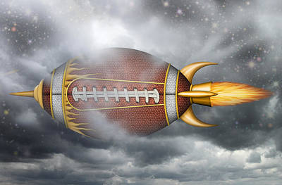 Digital Art - Spaceship Football by James Larkin