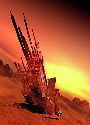Spaceship On Planet Art Print