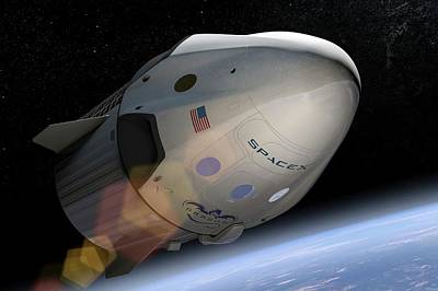Dragon Photograph - Spacex's Crew Dragon In Orbit by Spacex/science Photo Library